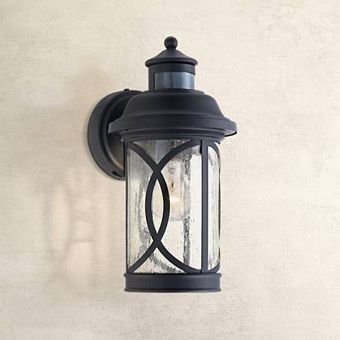 """Capistrano 12 3/4""""h Black Motion Sensor Outdoor Wall Light Within Palma Black/clear Seeded Glass Outdoor Wall Lanterns (View 3 of 20)"""