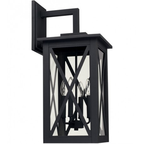 Capital Lighting 926641bk Avondale 4 Light 25 Inch Black With Vendramin Black Glass Outdoor Wall Lanterns (View 16 of 20)