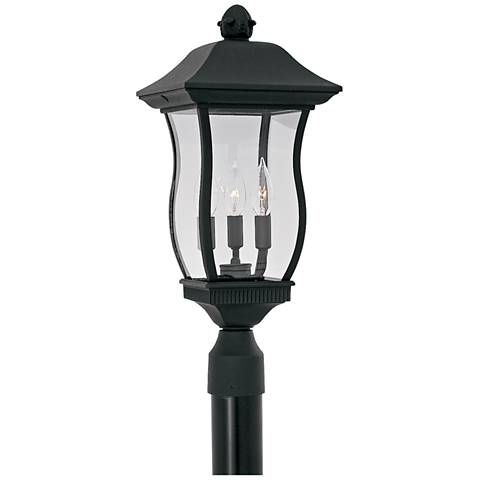 """Chelsea 21 1/4"""" High 3 Light Black Outdoor Post Light Within Keiki Matte Black Outdoor Wall Lanterns (View 2 of 20)"""