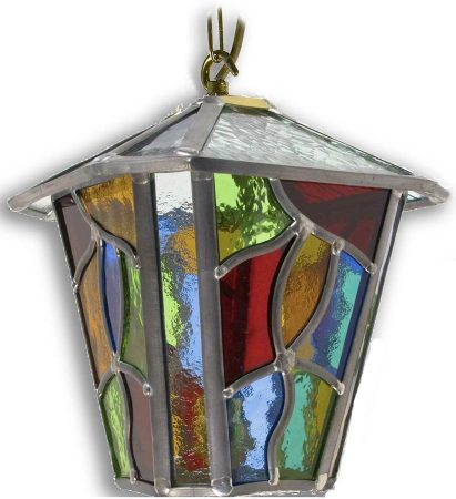 Chepstow Multi Coloured Leaded Glass Hanging Outdoor Porch With Wrentham Beveled Glass Outdoor Wall Lanterns (View 19 of 20)