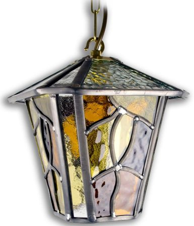 Coniston Amber Leaded Glass Downward Outdoor Wall Lantern Throughout Faunce Beveled Glass Outdoor Wall Lanterns (View 16 of 20)