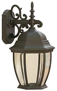 Coramdeo Outdoor Large Hex Curved Glass Led Wall Lantern For Payeur Hammered Glass Outdoor Wall Lanterns (View 9 of 20)