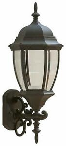 Coramdeo Outdoor Large Hex Curved Glass Led Wall Lantern With Wrentham Beveled Glass Outdoor Wall Lanterns (View 7 of 20)