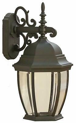 Coramdeo Outdoor Large Hex Curved Glass Led Wall Lantern Within Bayou Beveled Glass Outdoor Wall Lanterns (View 2 of 20)