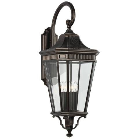 """Cotswold Lane 36 1/4""""h Bronze And Beveled Glass Wall Light Throughout Bayou Beveled Glass Outdoor Wall Lanterns (View 4 of 20)"""