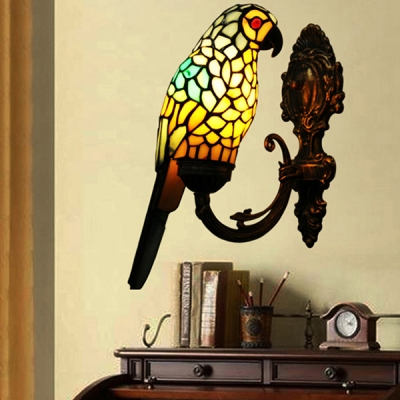 Creative Tiffany Parrot Wall Light 1 Light Stained Glass Intended For Gillian 3 – Bulb Beveled Glass Outdoor Wall Lanterns (View 12 of 20)