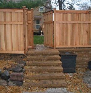 Custom Cedar Fence, Gate, Versalok Retaining Wall, Steps Regarding Vera Outdoor Wall Lanterns (View 13 of 20)