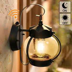 Dusk To Dawn Sensor Wall Lantern Outdoor Light Fixture Intended For Clarence Black Outdoor Wall Lanterns (View 15 of 20)