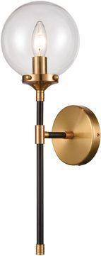 Elk 15341 1 Boudreaux Modern Matte Black / Antique Gold Throughout Armanno Matte Black Wall Lanterns (View 4 of 20)