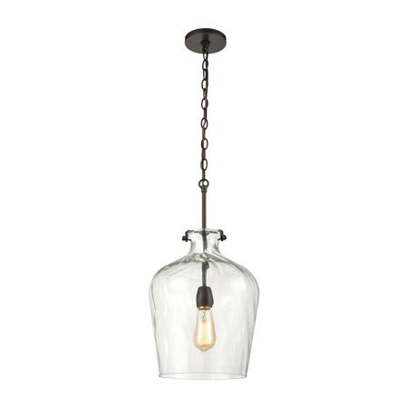 Elk Lighting 30070/1 1 Light Pendant In Oil Rubbed Bronze In Verne Oil Rubbed Bronze Beveled Glass Outdoor Wall Lanterns (View 5 of 20)