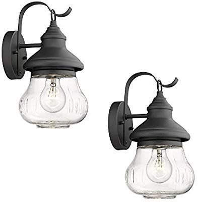 Emliviar Outdoor Wall Lighting Fixture, 2 Pack Exterior Throughout Ciotti Black Outdoor Wall Lanterns (View 15 of 20)