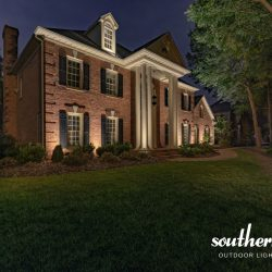 Estate Brick Home Illuminatedsouthern Lights Outdoor Throughout Journey Outdoor Wall Lanterns (View 8 of 20)