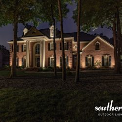 Estate Brick Home Illuminatedsouthern Lights Outdoor With Regard To Journey Outdoor Wall Lanterns (View 4 of 20)
