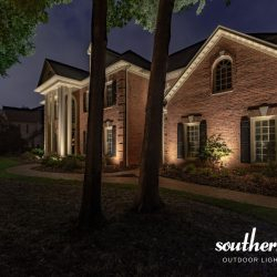 Estate Brick Home Illuminatedsouthern Lights Outdoor Within Journey Outdoor Wall Lanterns (View 9 of 20)