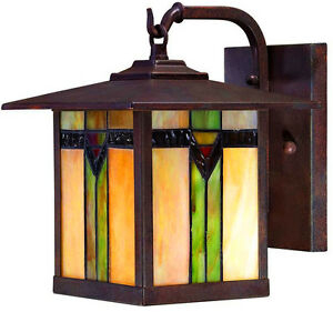 Exterior Outdoor Porch 1 Light Wall Lantern Tiffany Style With Regard To Payeur Hammered Glass Outdoor Wall Lanterns (View 8 of 20)
