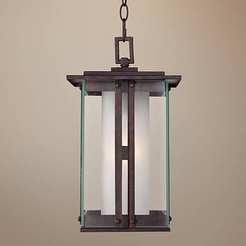 """Fallbrook Collection 15 3/4""""h Bronze Outdoor Hanging Light In Gillian 3 – Bulb Beveled Glass Outdoor Wall Lanterns (View 14 of 20)"""
