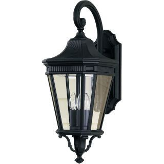 Feiss Ol5402bk Black Traditional 3 Light Outdoor Wall Within Faunce Beveled Glass Outdoor Wall Lanterns (View 14 of 20)
