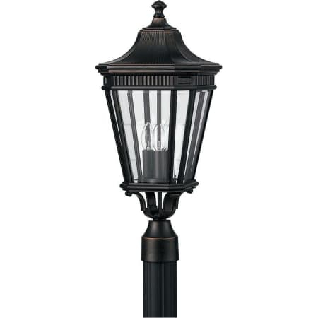 Feiss Ol5407gbz Grecian Bronze Traditional 3 Light Post Within Gillian 3 – Bulb Beveled Glass Outdoor Wall Lanterns (View 2 of 20)