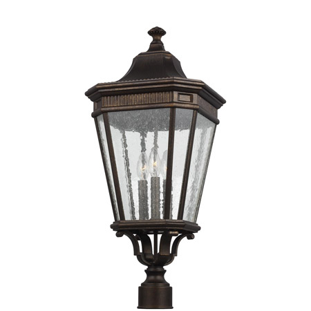 Feiss Ol5428gbz Cotswold Lane 3 – Light Outdoor Post/pier Pertaining To Gillian 3 – Bulb Beveled Glass Outdoor Wall Lanterns (View 4 of 20)