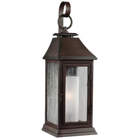 """Feiss Shepherd 16 1/2"""" High Copper Outdoor Wall Light With Borde Black Outdoor Wall Lanterns (View 4 of 20)"""