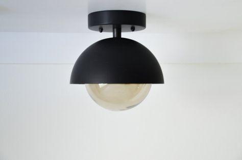 Flush Mount Modern Matte Black Light Dome With Pertaining To Bensonhurst Matt Black Wall Lanterns (View 20 of 20)