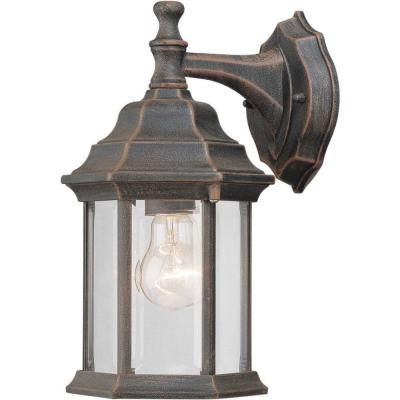 Forte Lighting 1 Light Outdoor Painted Rust Wall Lantern With Powell Beveled Glass Outdoor Wall Lanterns (View 7 of 20)