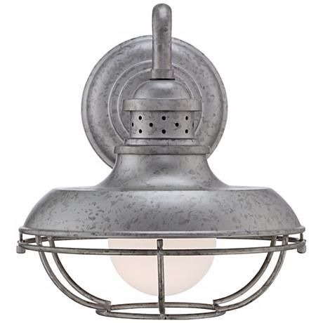 """Franklin Park 13"""" High Galvanized Steel Outdoor Wall Light Pertaining To Aleena Outdoor Barn Lights (View 10 of 20)"""
