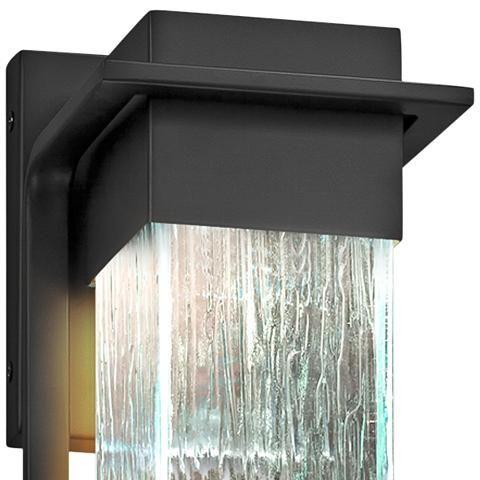 "Fusion Pacific 12"" High Rain Glass Black Led Outdoor Wall Regarding Borde Black Outdoor Wall Lanterns (View 9 of 20)"
