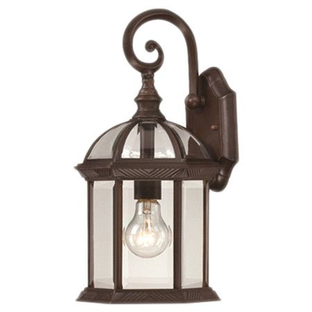 Gazebo Style Outdoor Wall Lantern In Rustic Bronze With For Powell Beveled Glass Outdoor Wall Lanterns (View 5 of 20)