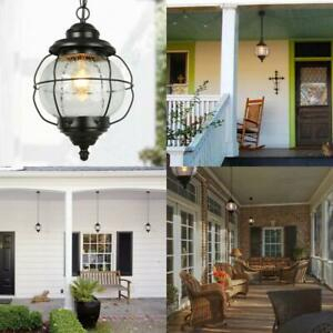 Globe Black 1 Light Outdoor Pendant Light Exterior Hanging Inside Palma Black/clear Seeded Glass Outdoor Wall Lanterns (View 20 of 20)