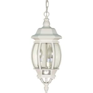 Glomar 3 Light Outdoor White Hanging Lantern With Clear With Gillian 3 – Bulb Beveled Glass Outdoor Wall Lanterns (View 9 of 20)
