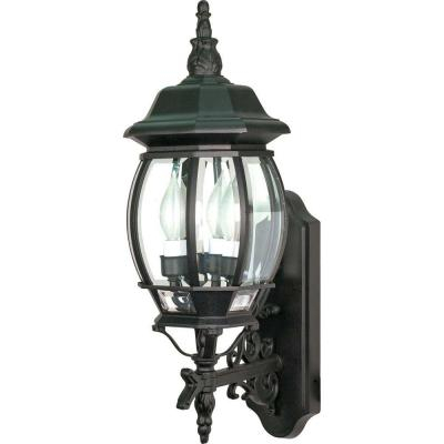 Glomar Concord 3 Light Textured Black Outdoor Hanging Inside Vendramin Black Glass Outdoor Wall Lanterns (View 17 of 20)
