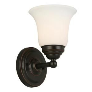 Hampton Bay Ashhurst 1 Light Oil Rubbed Bronze Wall Sconce Intended For Heinemann Rubbed Bronze Seeded Glass Outdoor Wall Lanterns (View 14 of 20)