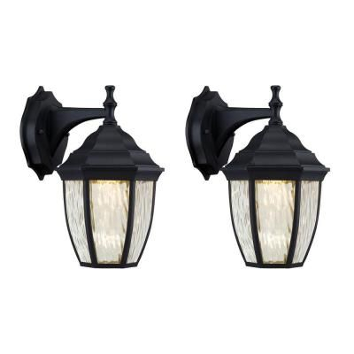 Hampton Bay Black Outdoor Led Wall Lantern Sconce (2 Pack With Chicopee 2 – Bulb Glass Outdoor Wall Lanterns (View 12 of 20)