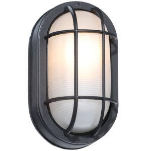 Hampton Bay Black Outdoor Oval Bulkhead Wall Light Hb8822p Throughout Jaceton Black Outdoor Wall Lanterns (View 16 of 20)