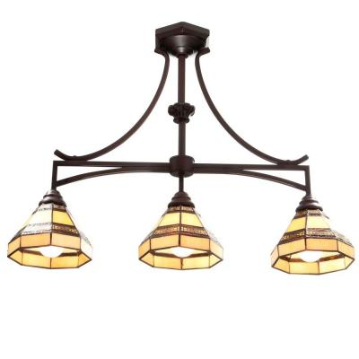 Hampton Bay Eagan 3 Light Oil Rubbed Bronze Drum Pendant Inside Verne Oil Rubbed Bronze Beveled Glass Outdoor Wall Lanterns (View 12 of 20)