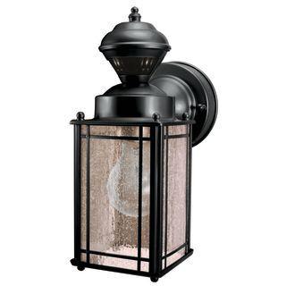 Heath Zenith Sl 4135 Bk | Outdoor Wall Lantern, Outdoor Inside Heinemann Rubbed Bronze Seeded Glass Outdoor Wall Lanterns (View 7 of 20)