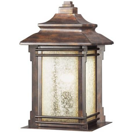 """Hickory Point 16 1/2"""" Walnut Bronze Outdoor Pier Mount Intended For Chicopee 2 – Bulb Glass Outdoor Wall Lanterns (View 11 of 20)"""