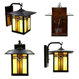 Highland 1 Light Bronzed Outdoor Stained Glass Wall Intended For Faunce Beveled Glass Outdoor Wall Lanterns (View 17 of 20)