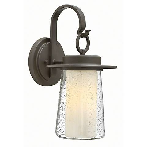 """Hinkley Riley 17 1/2"""" High Bronze Outdoor Wall Light Pertaining To Chicopee 2 – Bulb Glass Outdoor Wall Lanterns (View 10 of 20)"""