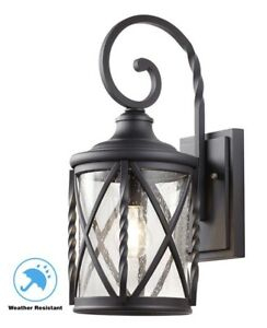 Home Decorations 1 Light Black Outdoor Wall Lantern Sconce In Brook Black Seeded Glass Outdoor Wall Lanterns With Dusk To Dawn (View 17 of 20)