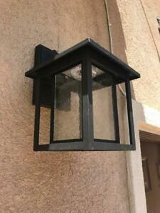 Home Decorators Black Outdoor Seeded Glass Dusk To Dawn Regarding Meunier Glass Outdoor Wall Lanterns (View 16 of 20)