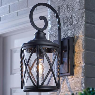 Home Decorators Collection – Outdoor Lighting – Lighting In Brook Black Seeded Glass Outdoor Wall Lanterns With Dusk To Dawn (View 3 of 20)