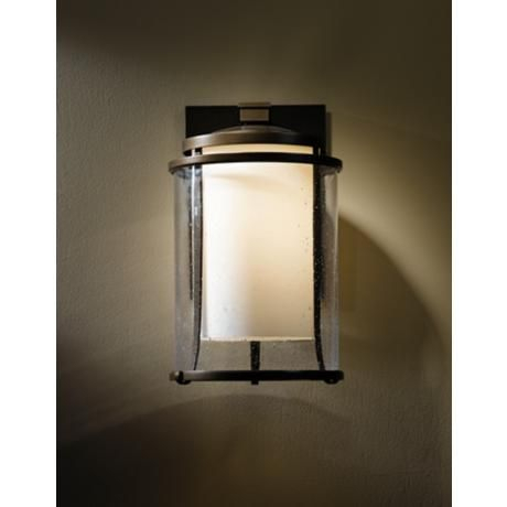 """Hubbardton Forge Meridian 15 3/4"""" High Outdoor Wall Light Pertaining To Meunier Glass Outdoor Wall Lanterns (View 13 of 20)"""