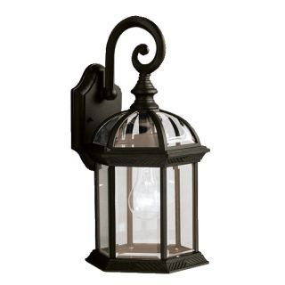 """Kichler 9735tz Tannery Bronze Barrie 16"""" Outdoor Wall Within Powell Beveled Glass Outdoor Wall Lanterns (View 3 of 20)"""