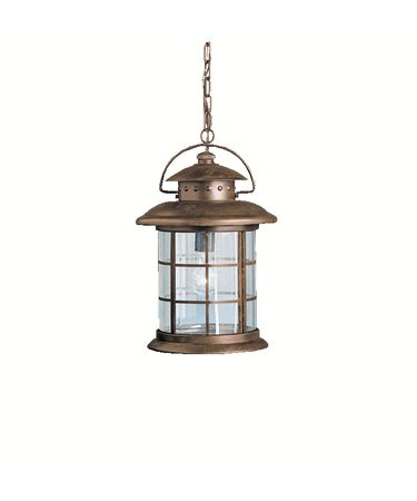 Kichler 9870 Rustic 1 Light Outdoor Hanging Lantern Pertaining To Gillian 3 – Bulb Beveled Glass Outdoor Wall Lanterns (View 7 of 20)