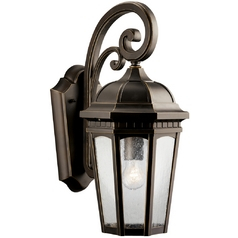 Kichler Outdoor Wall Light With Clear Glass In Rubbed Regarding Black  (View 2 of 20)