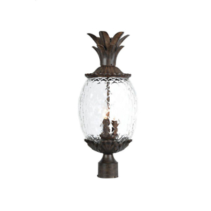 Light Fixture Post Mount 3 Light Outdoor Pineapple Shaped Pertaining To Feuerstein Black 16'' H Outdoor Wall Lanterns (View 6 of 20)