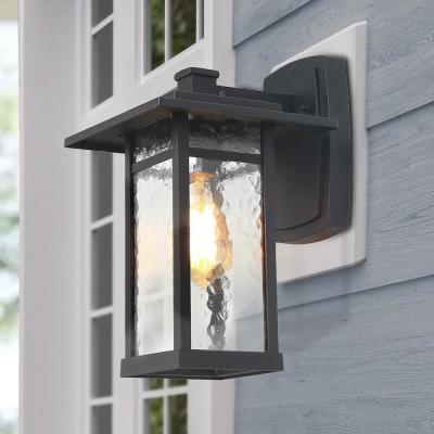 Lnc Craftsman Coach Light 1 Light Modern Matt Black Pertaining To Vendramin Black Glass Outdoor Wall Lanterns (View 4 of 20)