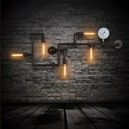 Loft Industrial Iron Water Pipe Wall Lamp American Vintage Regarding Cano Wall Lanterns (View 19 of 20)